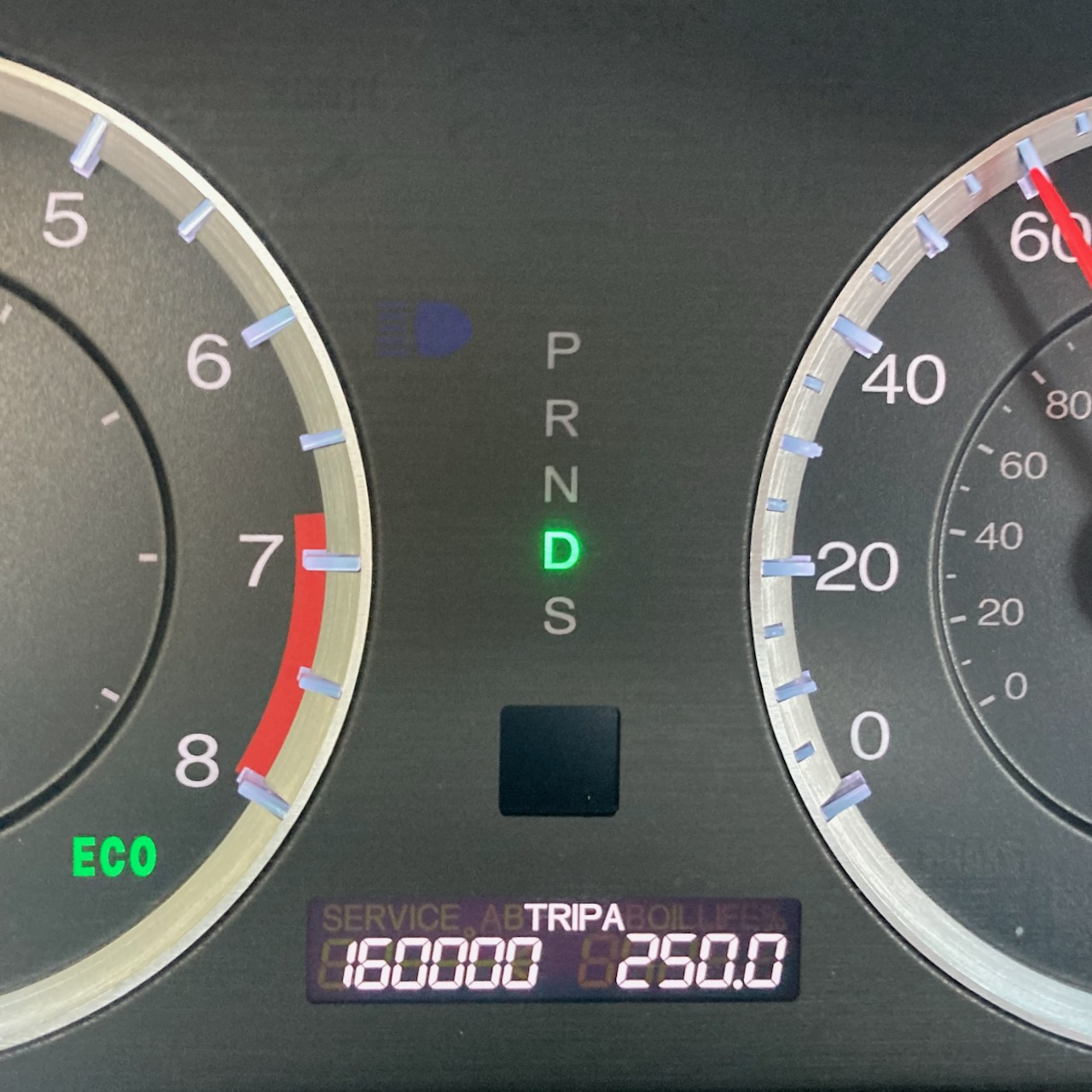 Car odometer reading 160000 TRIP A 250.0
