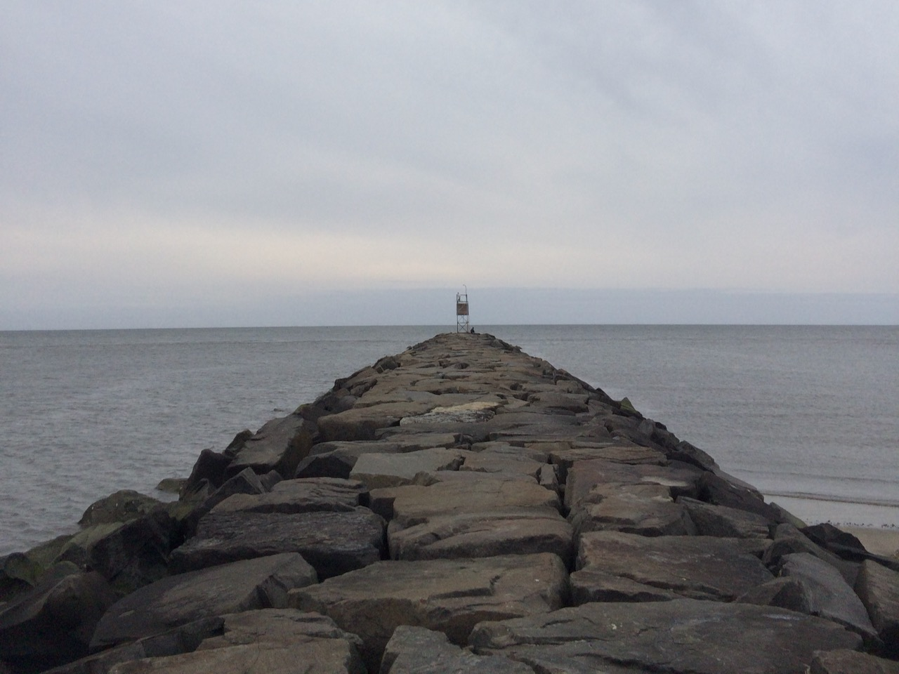 Jetty protruding out into Delaware Bay.