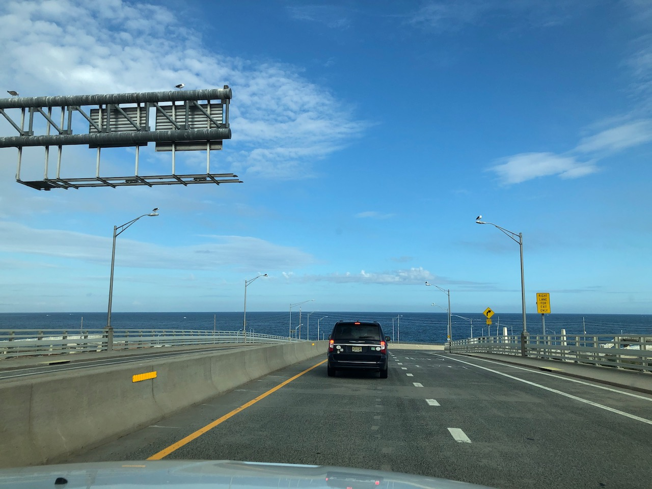 View of Atlantic Ocean from highway on Route 36.