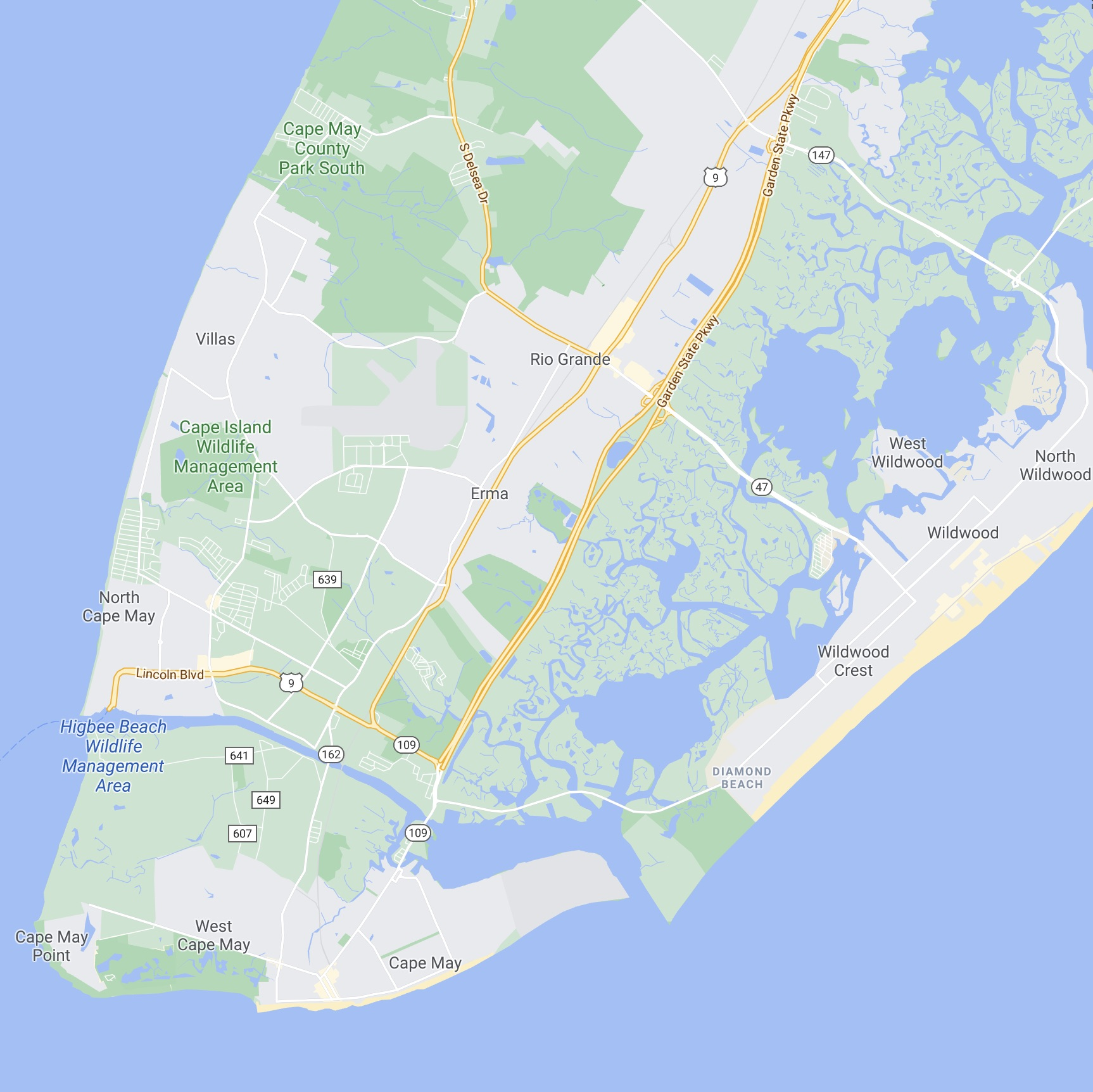 Map of the Cape May Peninsula