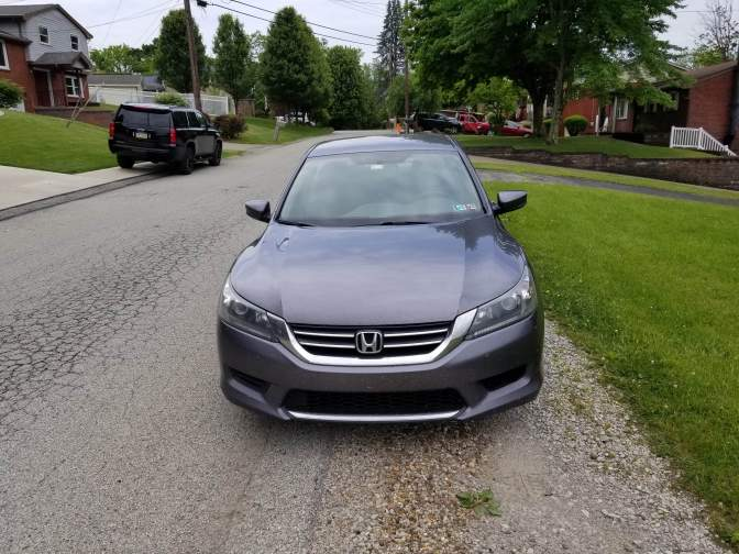 Gray 2015 Honda Accord LX parked along the side of the road.