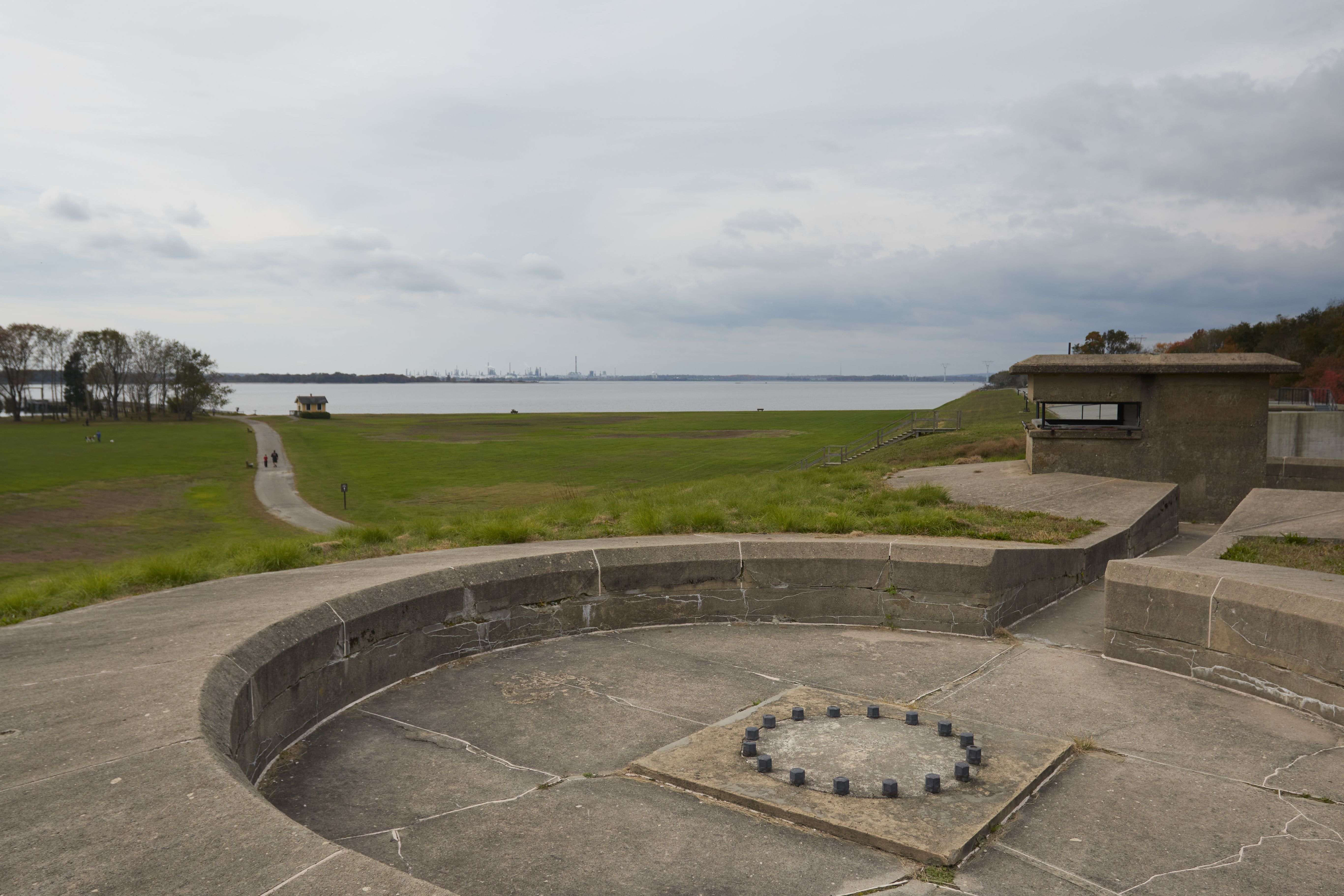 View from top of Battery Gregg, with empty gun emplacement and fire control tower.