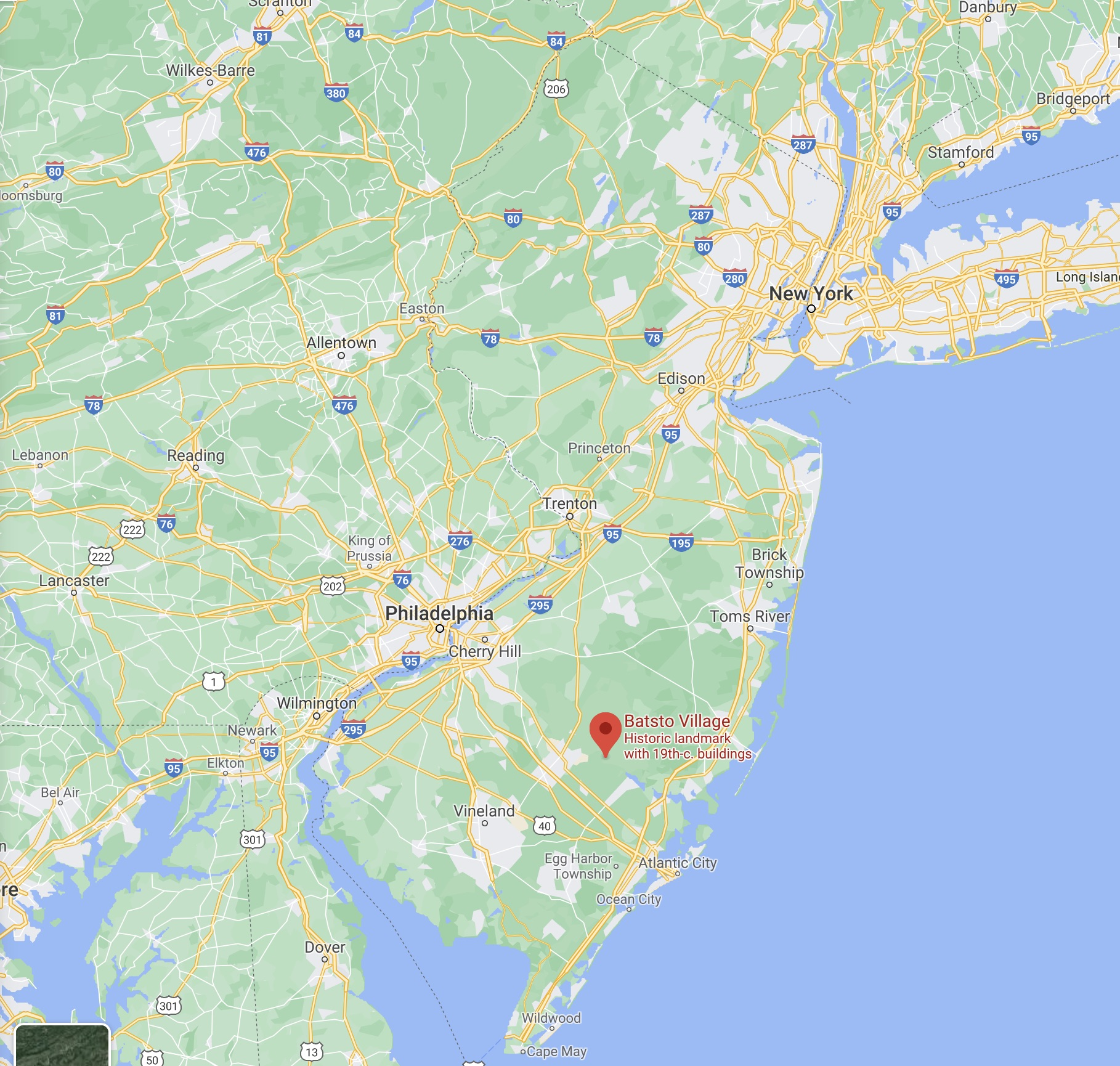 Map of New Jersey with red pin in location of Batsto Village.