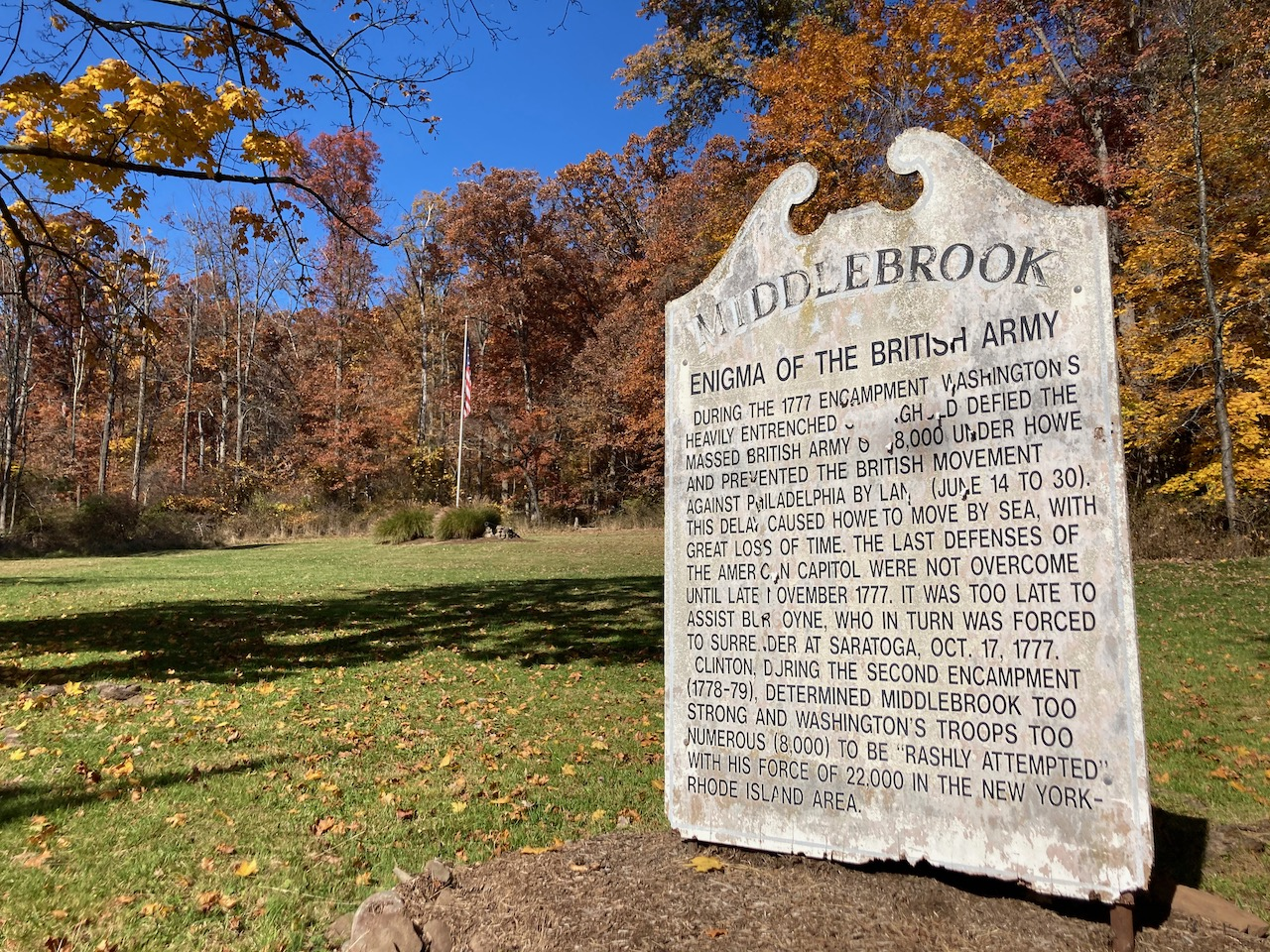 Sign indicating park of location of Middlebrook Encampment.