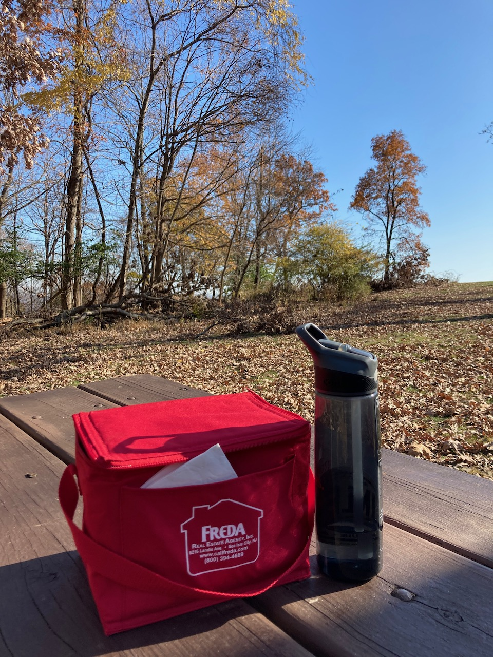 Picnic lunch and water bottle on table.