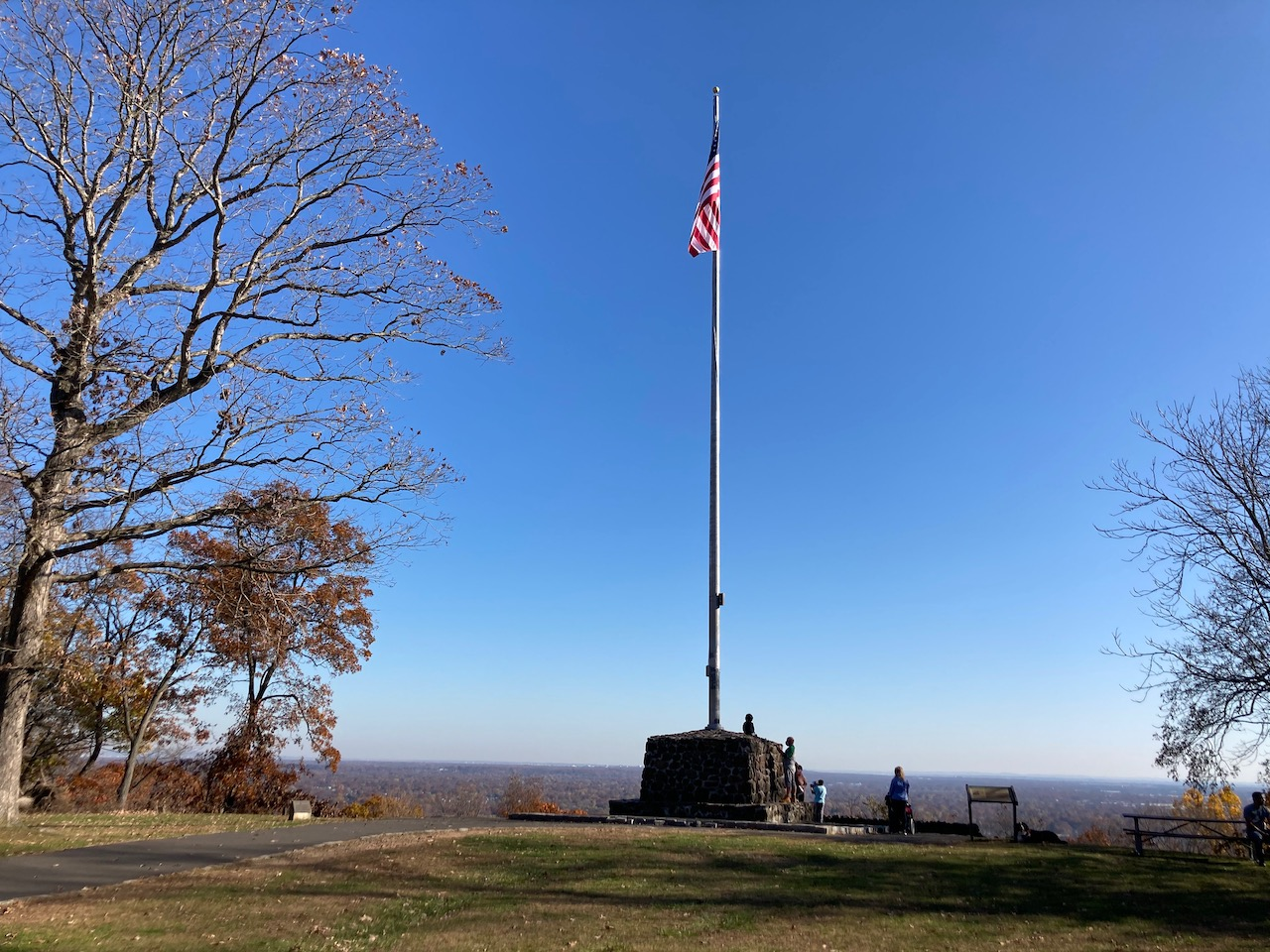View of marker with flagpole and American flag.