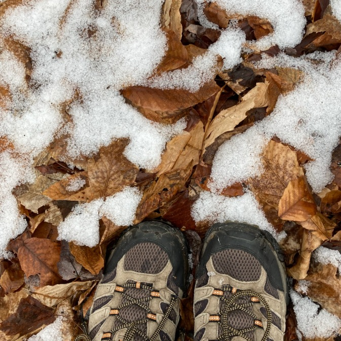 Hiking shoes and snow on ground.