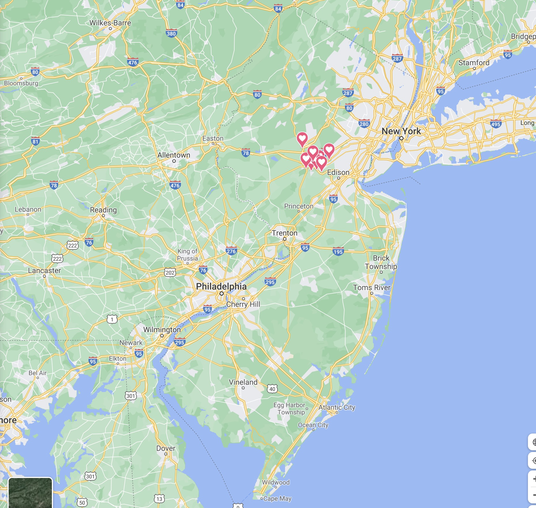 Map of NJ with pins in locations in the center of the state.
