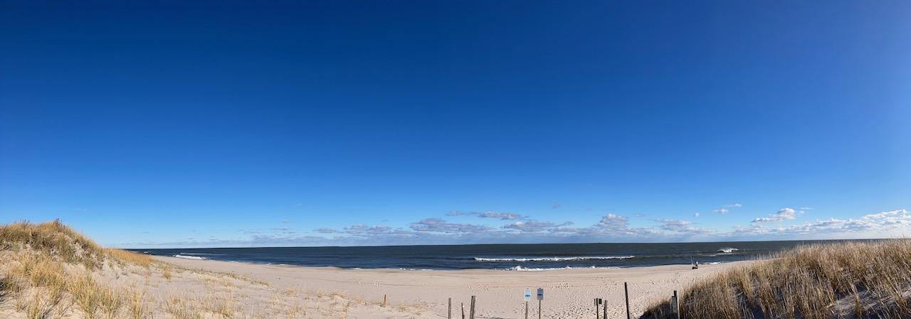 Panorama of beach and dunes.