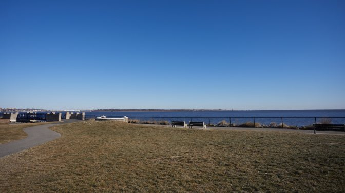 Raritan Bay Waterfront Park, with Raritan Bay in distance.