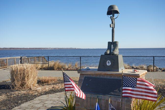 Memorial to fallen soldier.