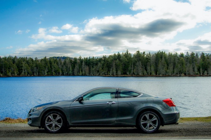 2012 Honda Accord coupe parked in front of Quiver Pond.