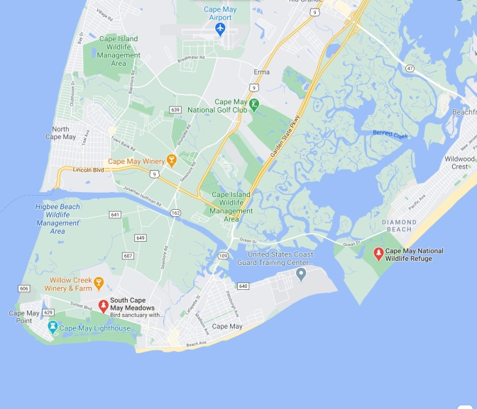 Map of Cape May, with red pin in location of South Cape May Meadows Bird Sanctuary.