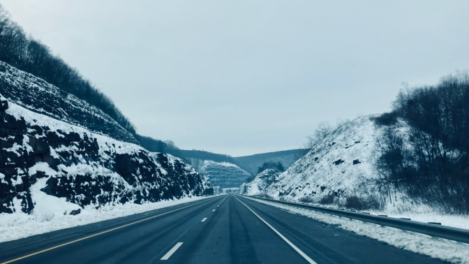 Snow-covered mountain road in Pennsylavnia.