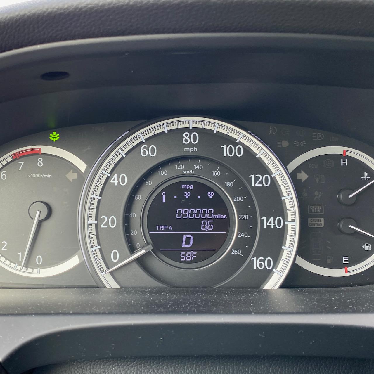 Car odometer reading 90000 miles.