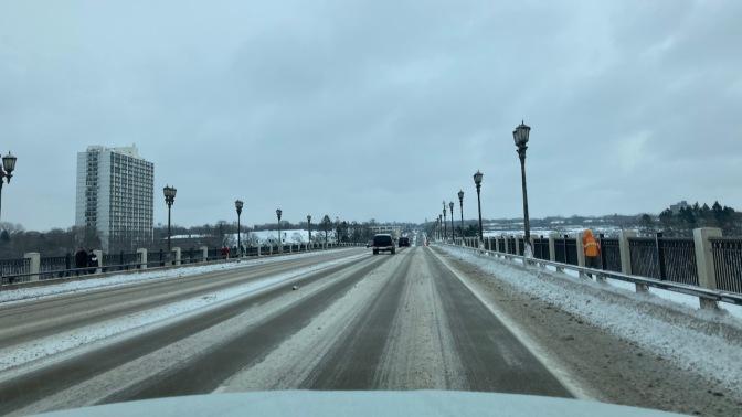 Snow-covered bridge in Minneapolis.
