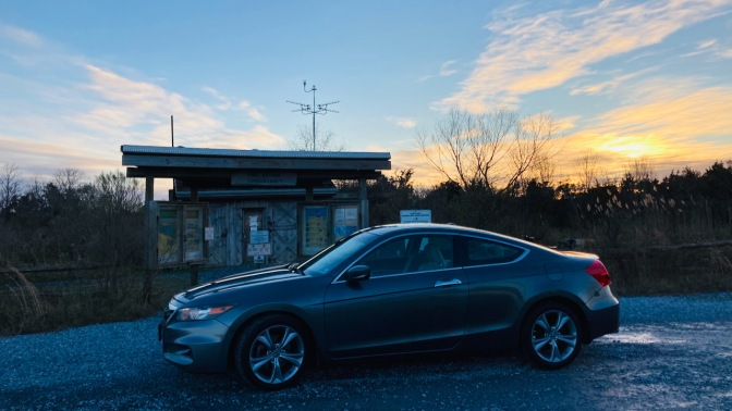 2012 Honda Accord, parked in front of entrance to Cape May Migratory Bird Refuge.