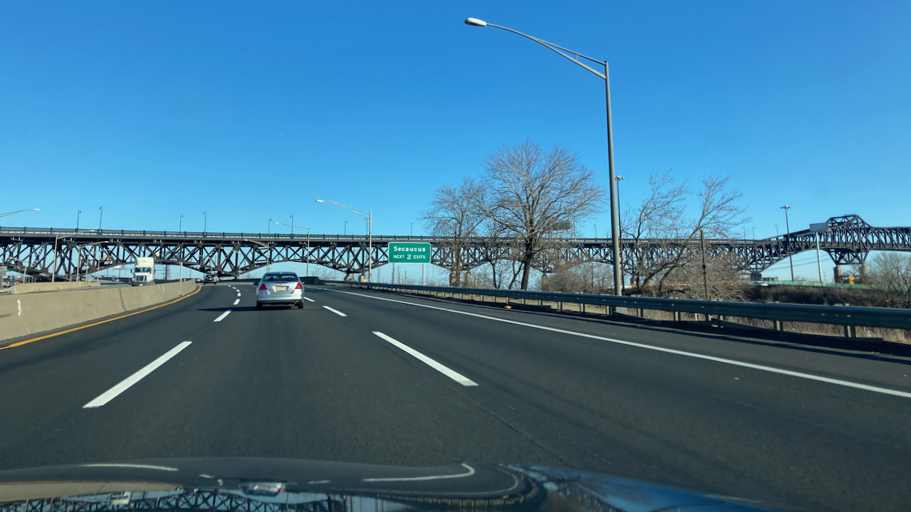 View of NJ Turnpike, with Pulaski Skyway in distance.