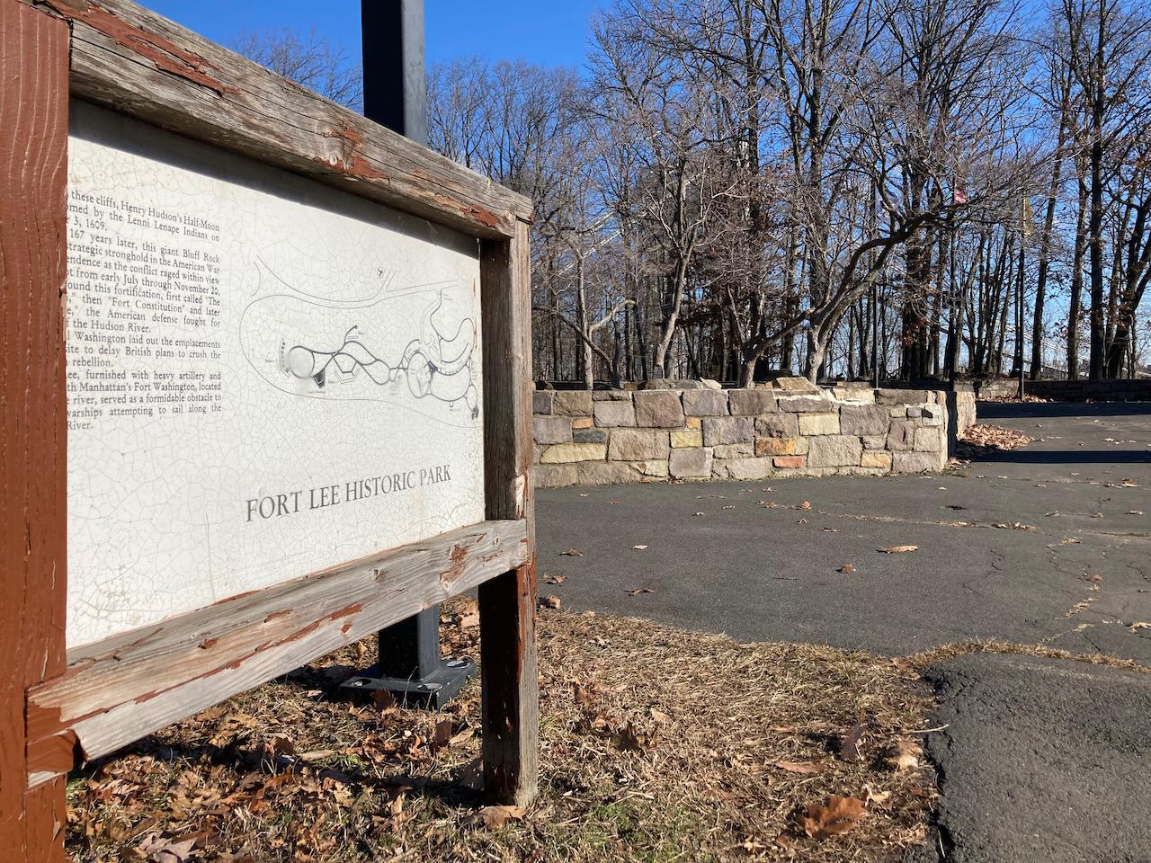 Entrance sign to Fort Lee Historic Park.