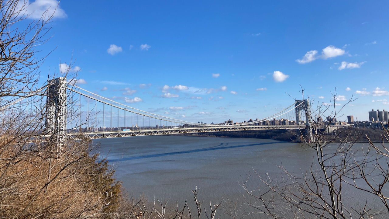 View of George Washington Bridge from Fort Lee Historic Park.