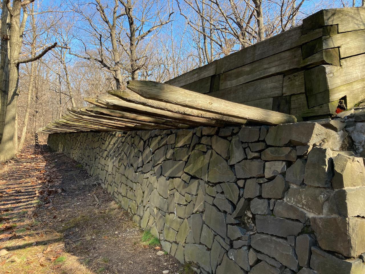 Earthenwork defensive fortification.