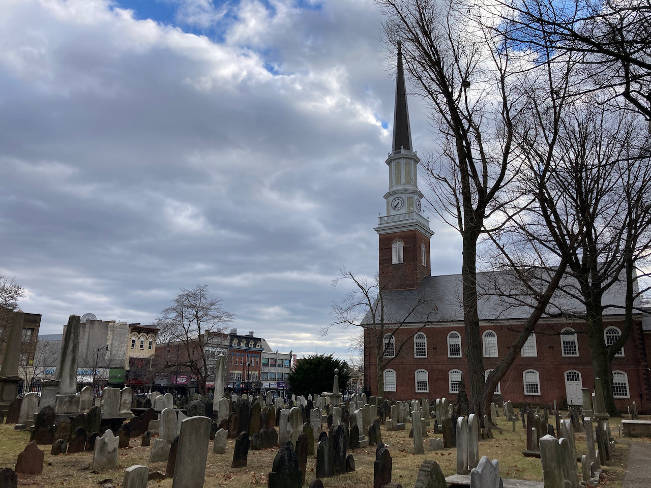 Church cemetery, with Presbyterian Church in background.