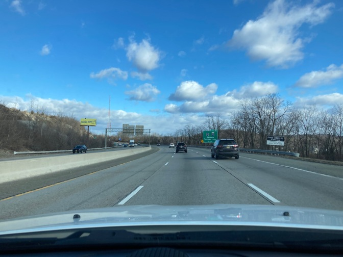 View of I-287 through windshield of Jeep Grand Cherokee.