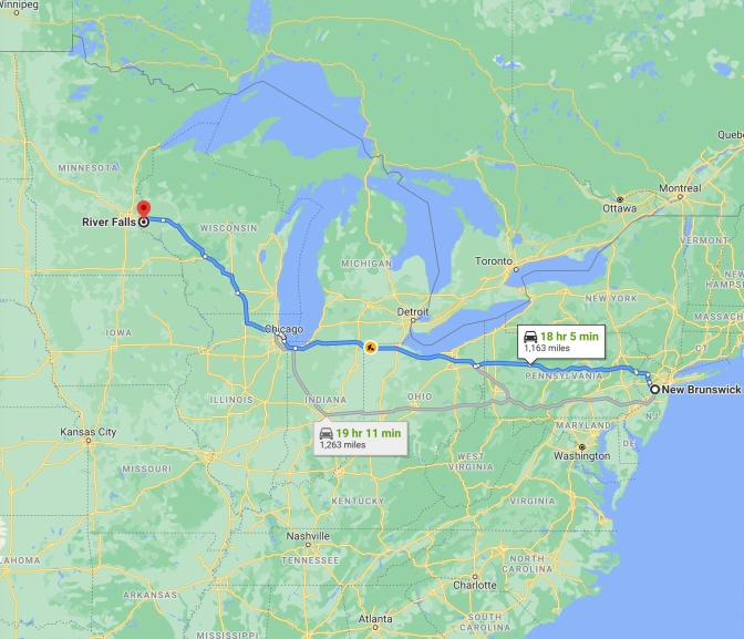 Map of eastern half of United States, with blue route between New Brunswick NJ and River Falls, Wisconsin.