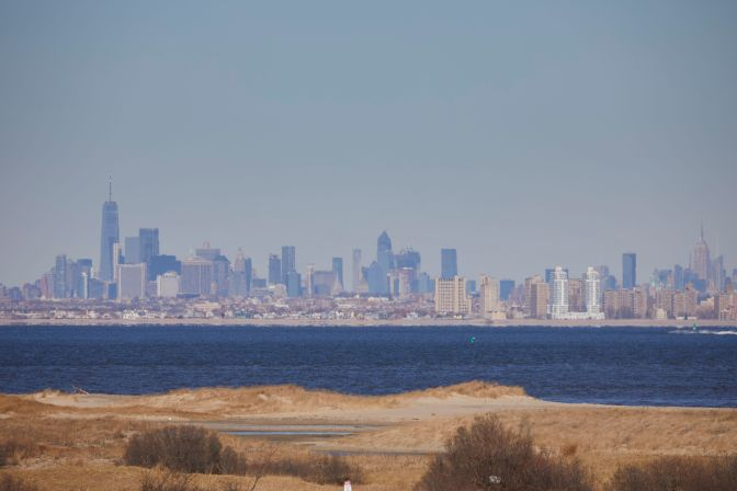 Skyline of Manhattan across Sandy Hook bay.