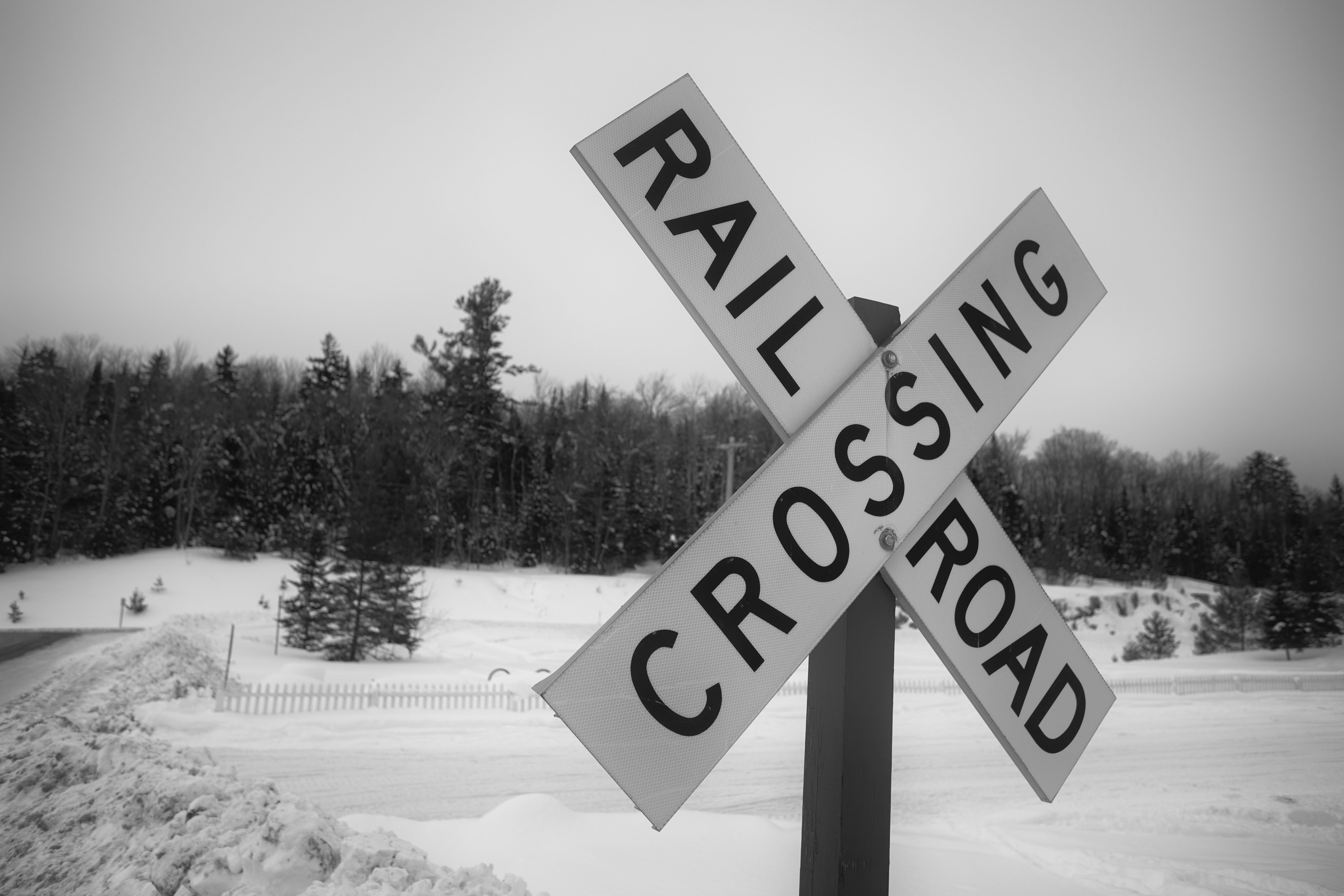 Black and white photo of railroad crossing sign with trees in distance.