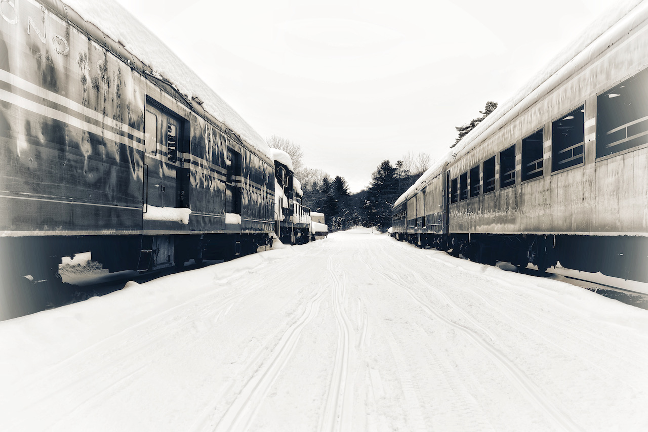 Trains on parallel tracks, covered in snow.