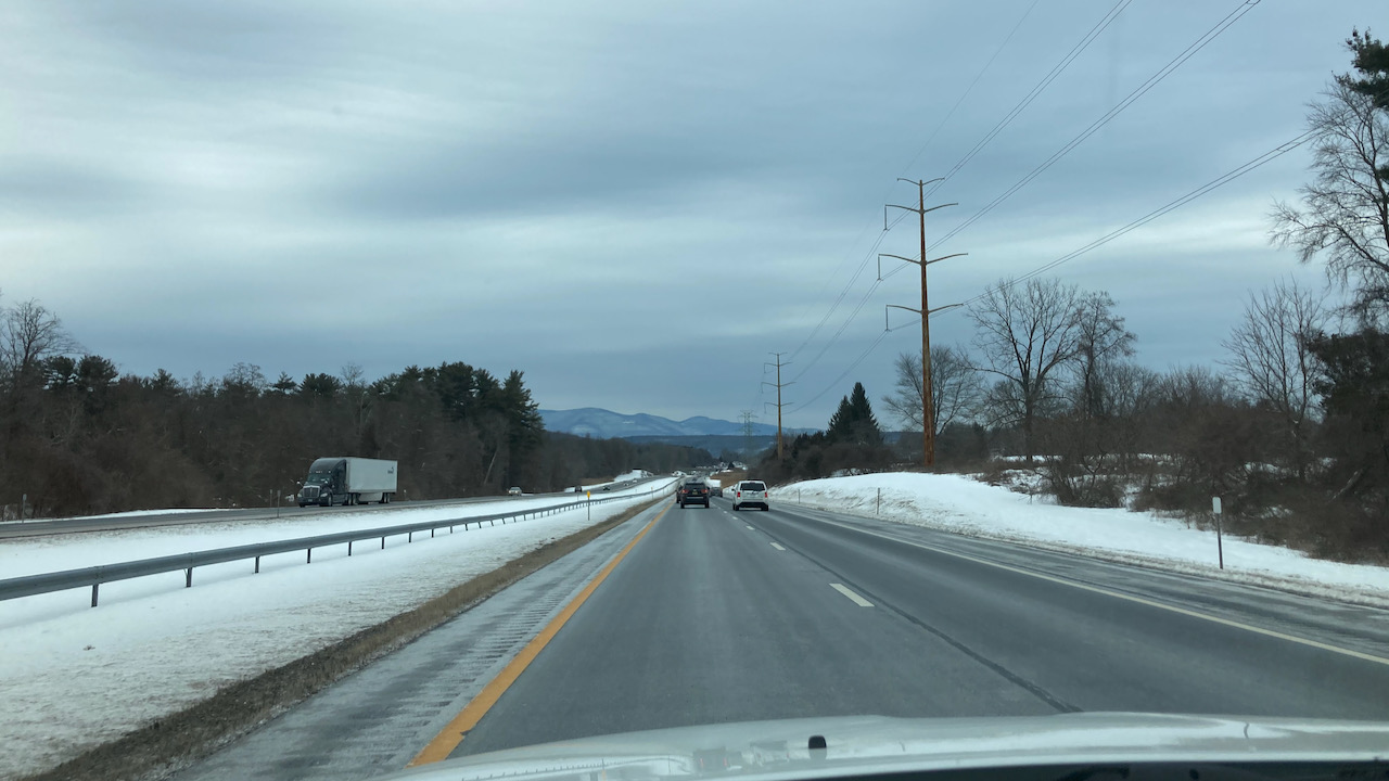 View of snow-lined road on I-287.
