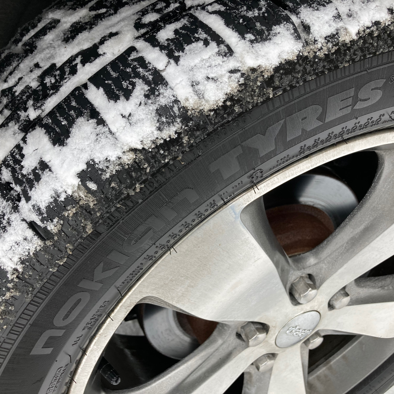 View of snow-covered Nokian WR G4 SUV tires.
