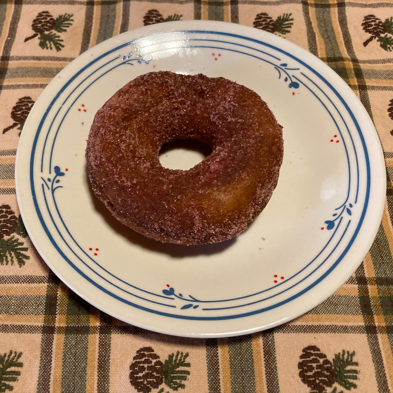 Donut on white plate.