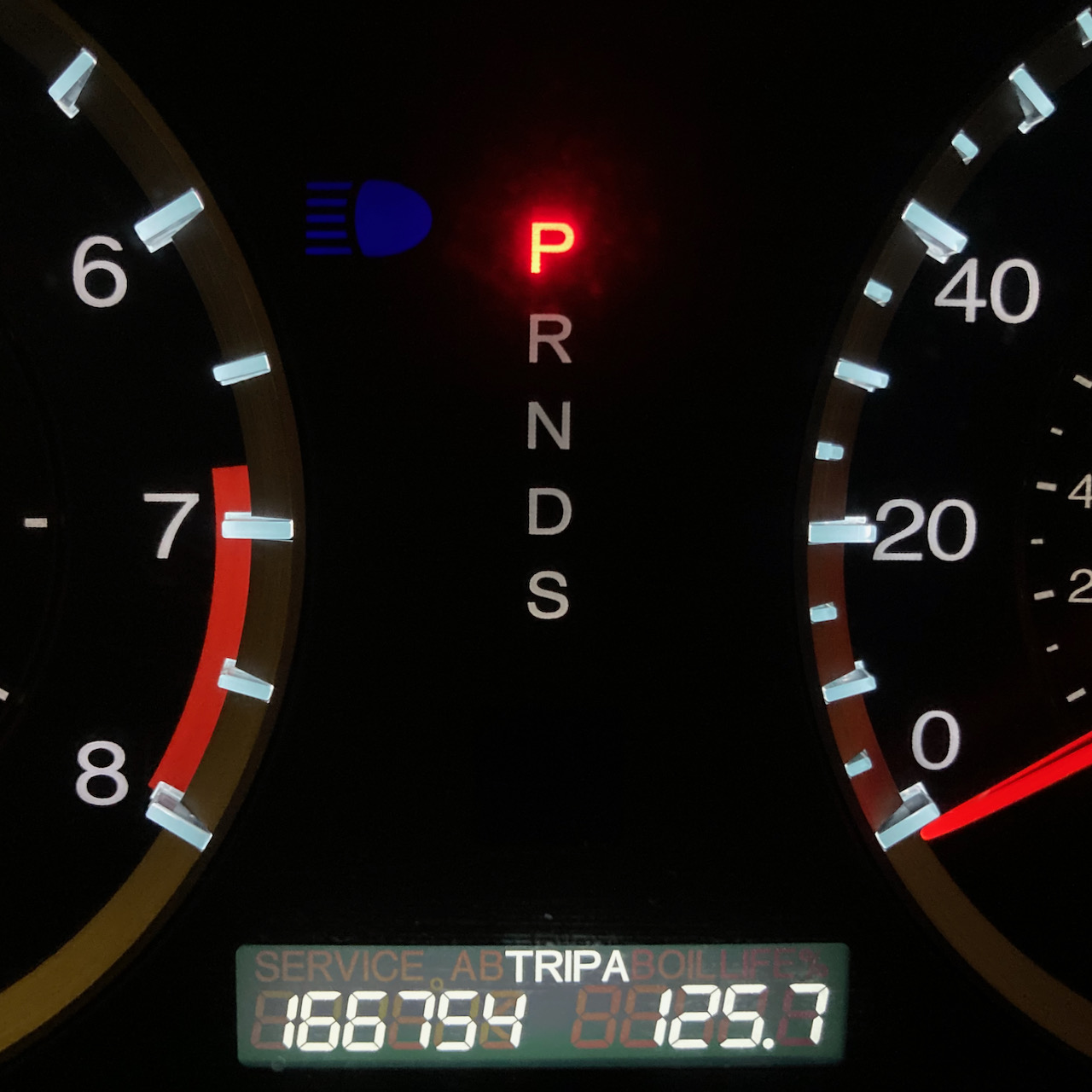 Car odometer reading 166754 TRIP A 125.7