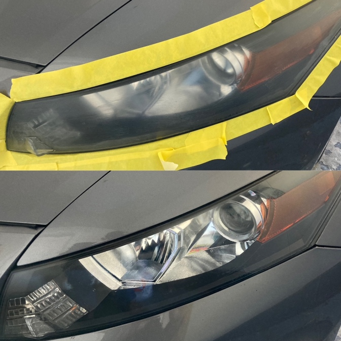 Two-frame photo: top is car headlight, surrounded by masking tape, looking cloudy. Bottom is same headlight, tape removed, and the lens is clear.