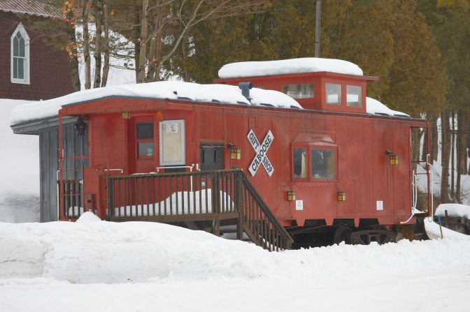 Red Caboose gift shop in snow.