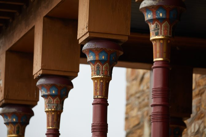Pillars with ornate designs.