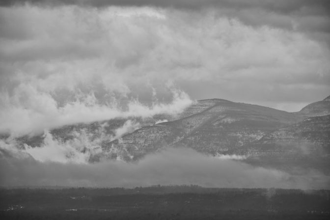 Black and white view of Catskill mountains.