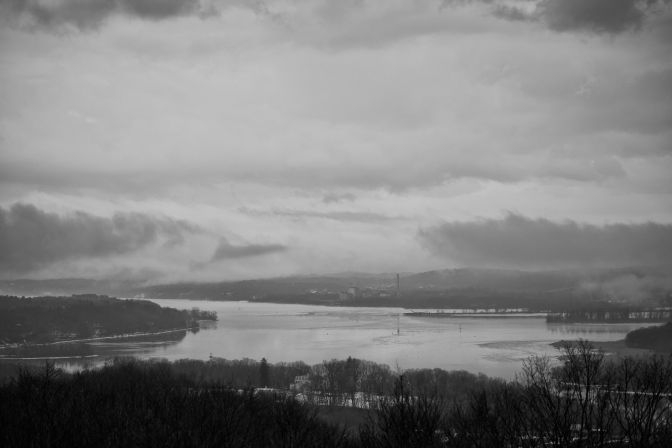 View of Hudson River in black and white.