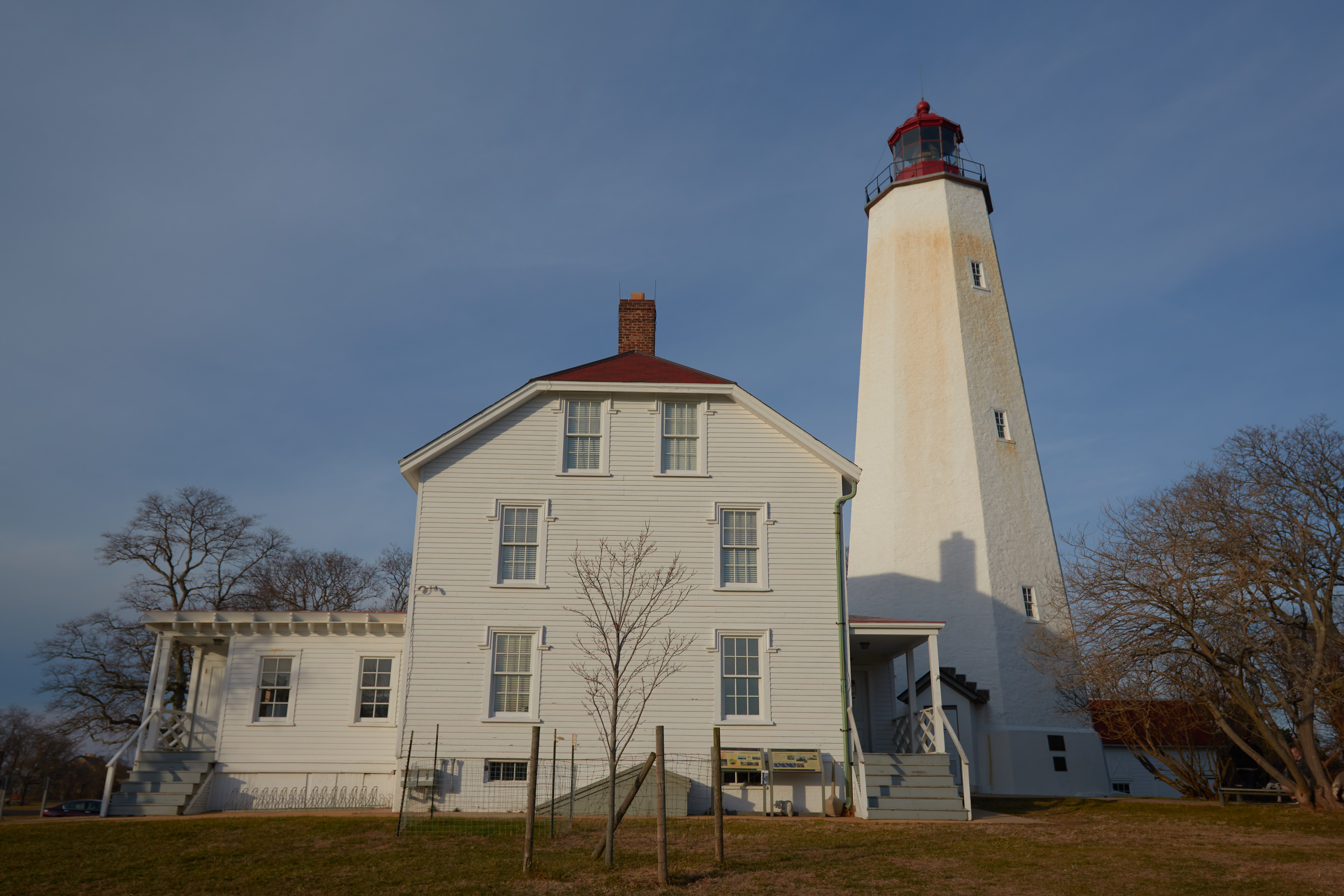 Exterior of Sandy Hook lighthouse.