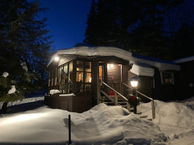 View of snow-covered house.