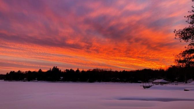 Sunset over Fourth Lake.