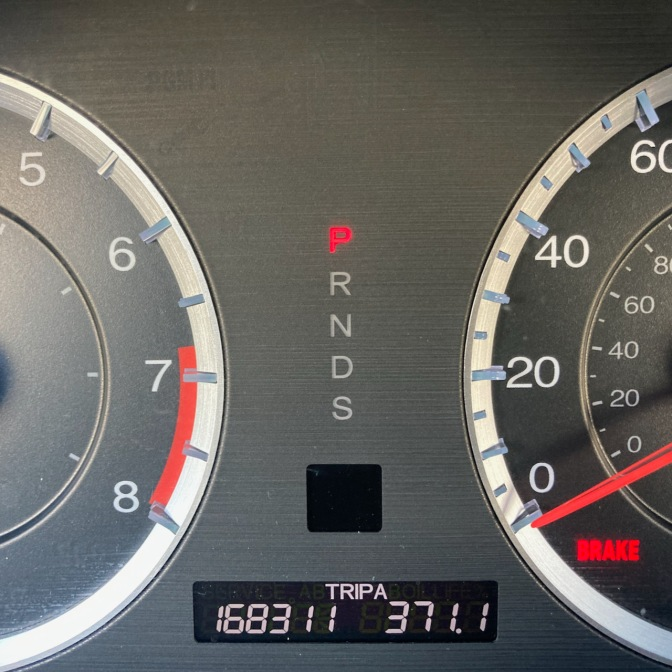 Car odometer reading 168311 TRIP A 371.1