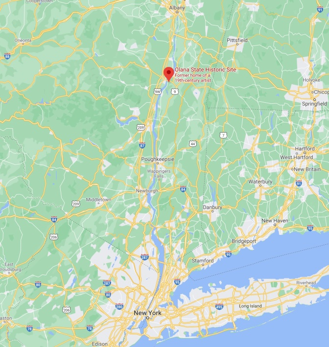Map of New York, with red pin in location of Olana State Historic Site.
