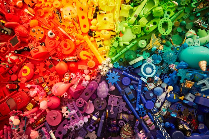 Color wheel filled with toys in each color.