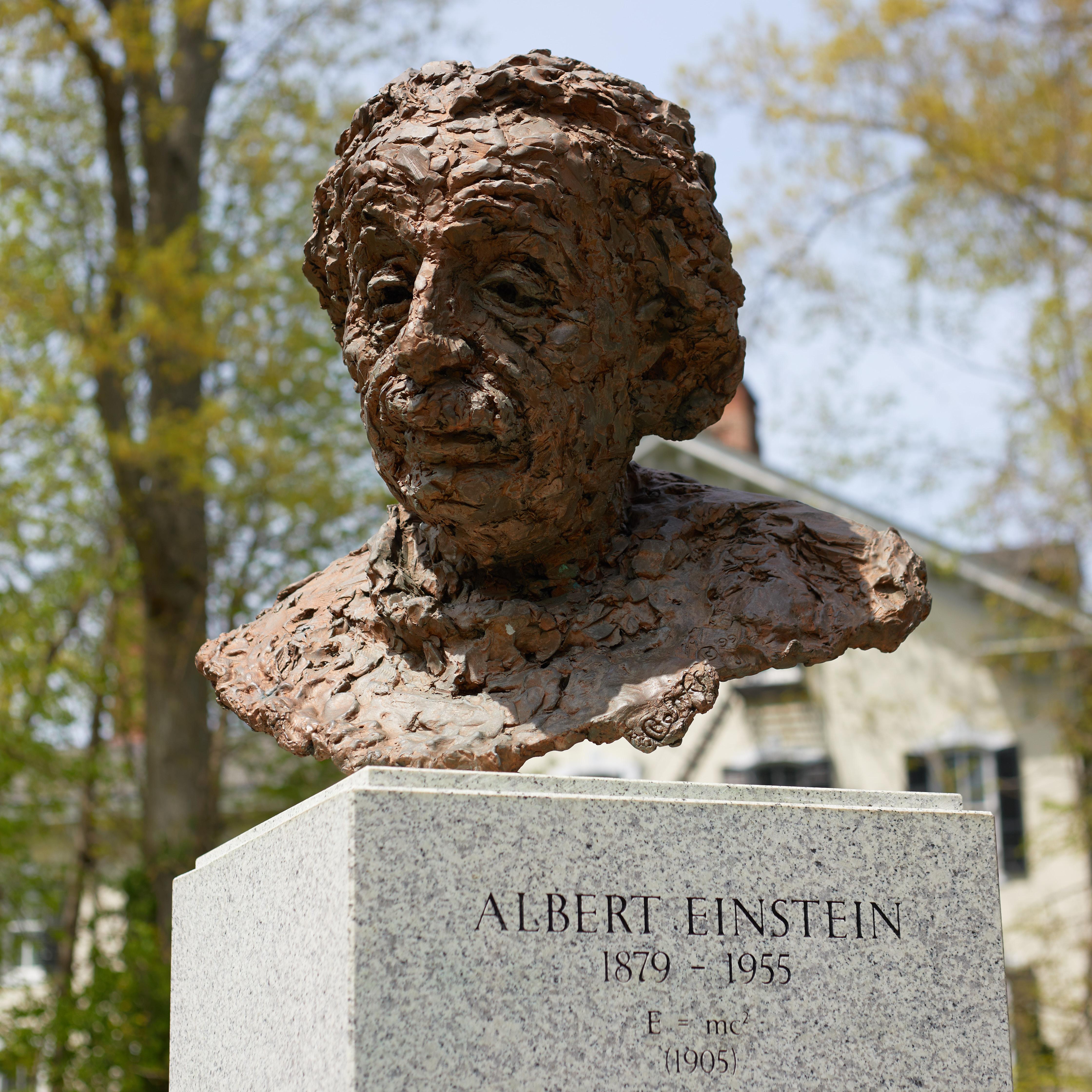 Bust of Albert Einstein on pedestal.