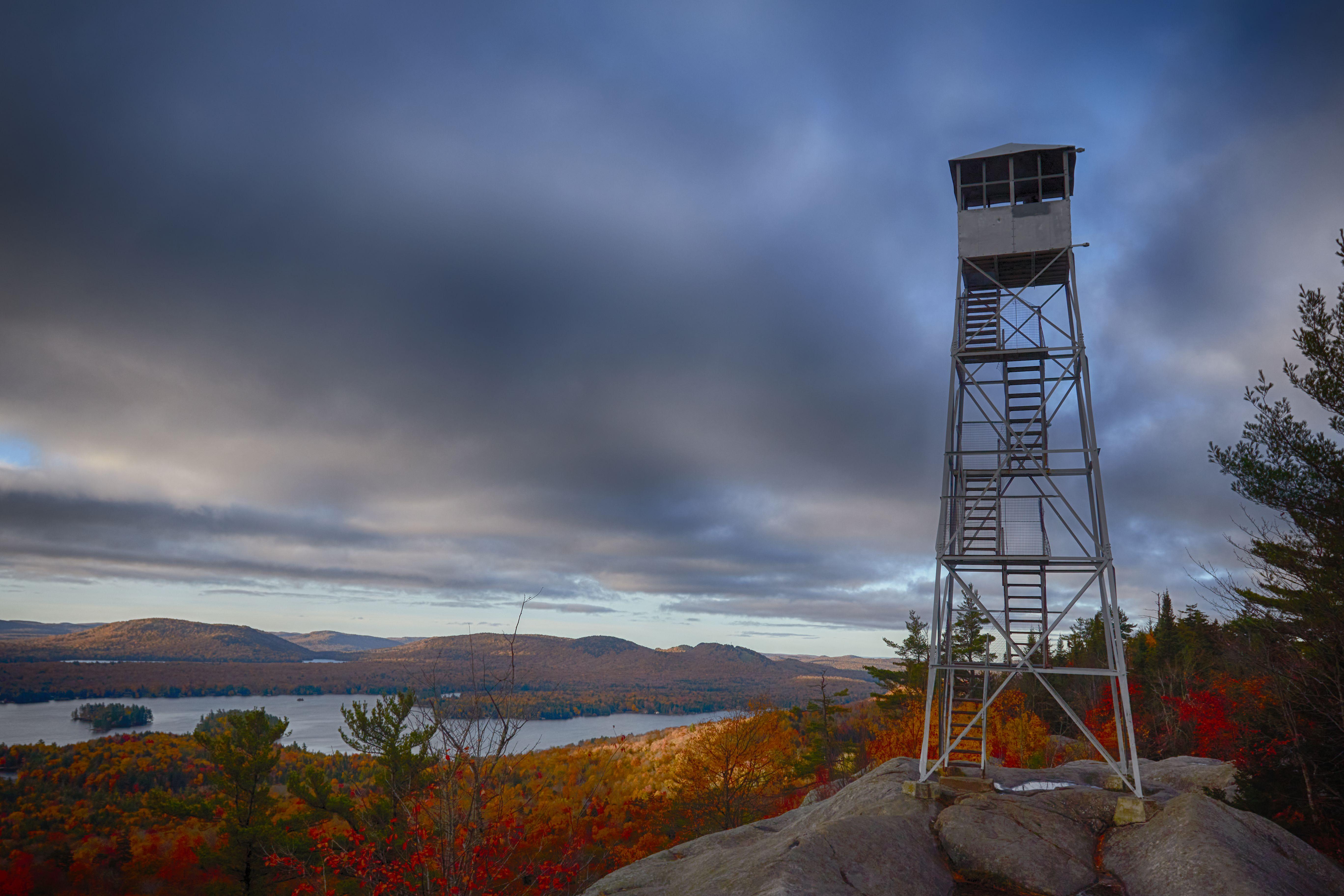 Rondaxe Fire Tower atop Bald Mountain.