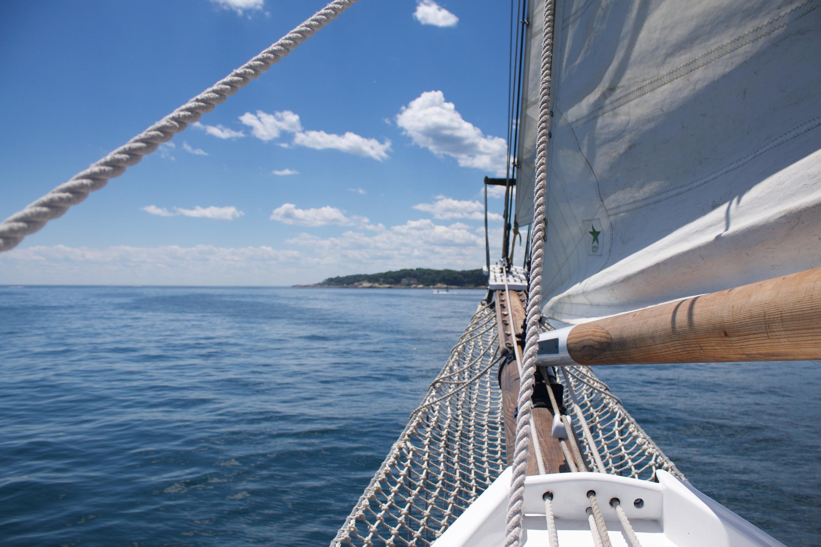 Bow of schooner at sea.