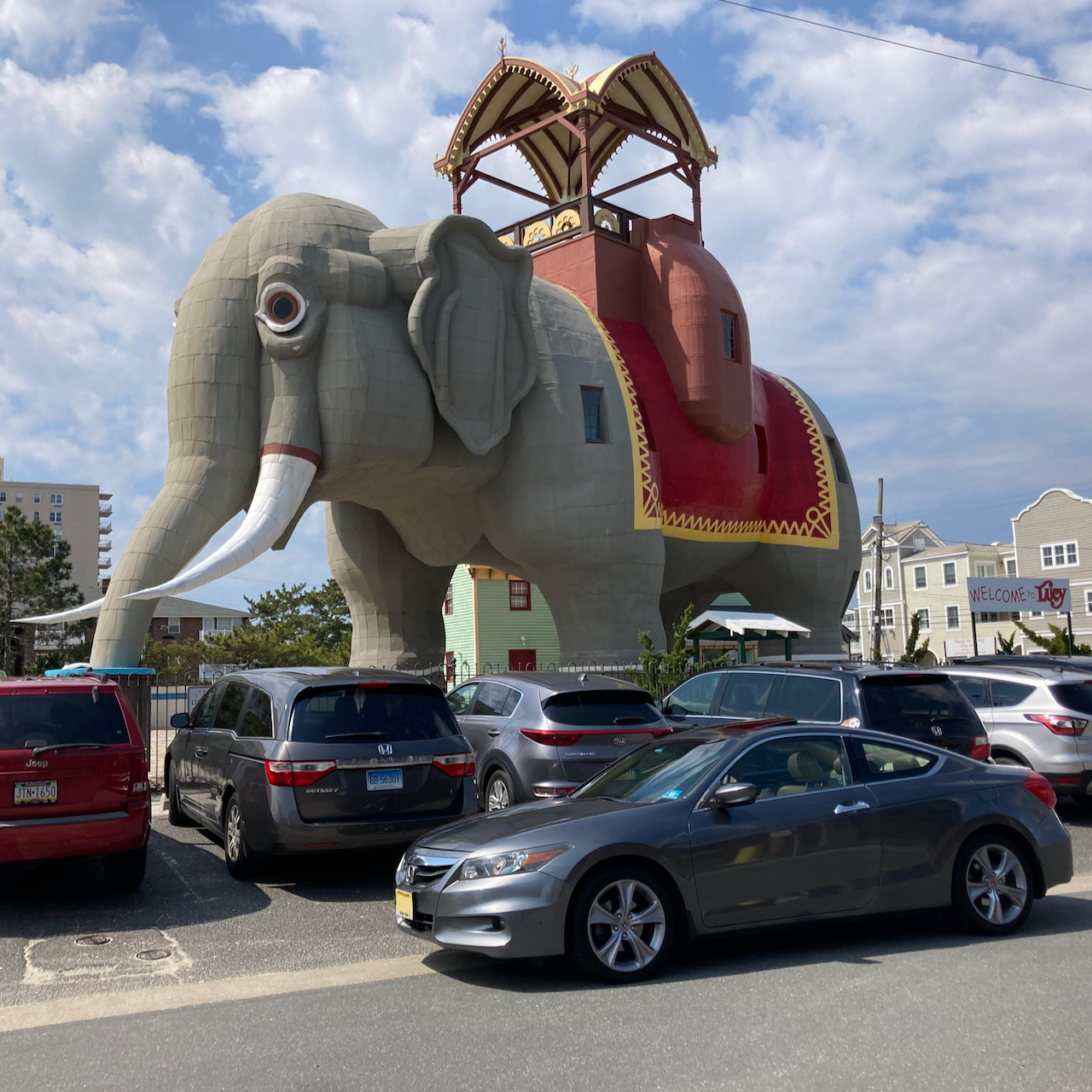 Lucy the Elephant, with a 2012 Honda Accord coupe parked in front of it.